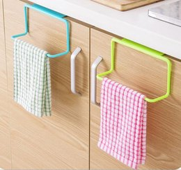 Wholesale Plastic Cupboards - Over Door Tea Towel Holder Rack Rail Cupboard Hanger Bar Hook Bathroom Kitchen Top Home Organization Candy Colors