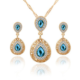 Wholesale Olive Pendant - 18K Yellow Gold Plated AAA+ Clear Crystal Cluster Green Red Blue Stone Earrings Pendant Necklace Jewelry Sets for Women Hot Gift
