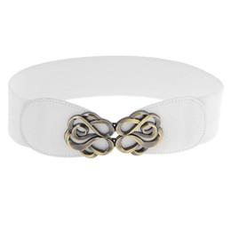 Wholesale Interlocking Belt - Wholesale- Lady Metal Interlocking Buckle Stretch Band Cinch Belt Dress Ornament White