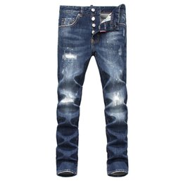 Wholesale Jeans Spray Man - Wholesale-2016 New winter Top Quality Blue Washed Ripped Jeans Men White Spray Painting Frayed Pacth Low-waist Slim Pants Famous Brand