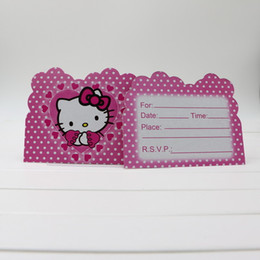 Wholesale Cartoon Motifs - Wholesale- 10pcs lot disposable paper invitation card birthday party decoration 14*10cm cartoon hello kitty motif lovely girl supplie favor
