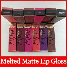 Wholesale Makeup Liquid Face - Hot Melted Matte Liquid Lipstick Faced Lip Gloss Matte Lipstick Faced Makeup Melted Lip Gloss Long Wear 12 color