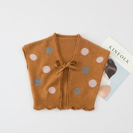 Wholesale Long Sleeved Vest Baby - Everweekend Baby Knitted Dot Bow Sweater Vest Cardigan Candy Color Vintage Korea Children Tops Western Baby Clothing