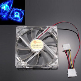 Wholesale Computer Cooling Fan Blue - Wholesale- NEW Mecall Blue Quad 4-LED Light Neon Clear 120mm PC Computer Case Cooling Fan Mod wholesale Oct20