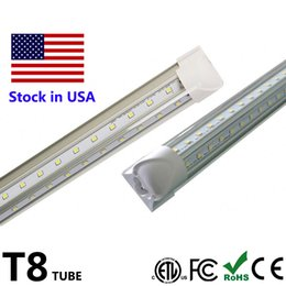 Wholesale usa doors - LED Tube Light V Shape LED Cool Door Light 4ft 5ft 6ft 8ft Integrate Tube Lights SMD2835 100LM W AC85-265V Stock in USA