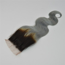 Wholesale Top Cheap Remy Hair - Cheap Ombre Lace Closure 1b Grey Brazilian Body Wave Virgin Hair 8A Peruvian Indian Malaysian Remy Hair Two Tone 1b Silver Top Closure
