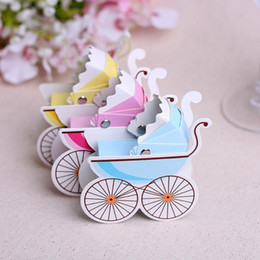 Wholesale Stroller Baby Favors - Cute Baby Cart Shape Candy Boix Baby Stroller Wedding Birthday Party Sweet Chocolate Boxes Wedding Favors