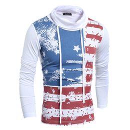 Wholesale Green Stripe Long Sleeve Shirt - A European Style Mosaic Flag Men's Stripe Tie Turtleneck T-shirt Printing Man's Fashion Hoodie