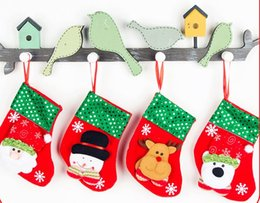 Wholesale Stocking Socks For Kids - 30 styles Christmas Bag Ornaments Sequins Embellished Non Woven Fabrics Christmas Socks Party Gifts For Kids Candy Bag Christmas Stockin MY