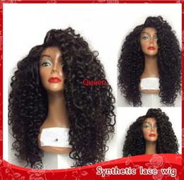 2019 perruques de cheveux afro pour femme africaine Haute Densité Noir Crépus Kinky Bouclés Sans Colle Synthétique Dentelle Avant Perruques avec bébé cheveux Résistant À La Chaleur Femmes Perruques pour les Femmes Afro-Américaines perruques de cheveux afro pour femme africaine pas cher