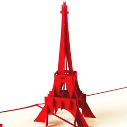 Wholesale Three Dimensional Greeting Cards - Creative 3D three-dimensional greeting card custom Postcard birthday card card love gift of Eiffel Tower 10pcs   lot