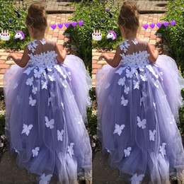 Wholesale Christmas Butterfly Images - Purple 7 Year Old Ball Gown Flower Girl Dresses Tulle 3D Floral Appliques Pageant Gowns Butterfly Communion Fancy Dress Costumes