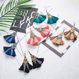 Wholesale China Chandeliers Wholesale - Unique style fabric tassel earrings, retro alloy earrings, high quality long earrings wholesale free shipping