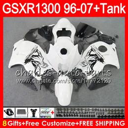 Wholesale Hayabusa Black White - 8Gifts 23Colors For SUZUKI Hayabusa GSXR1300 96 07 2002 2003 2004 15NO41 white black GSX R1300 GSXR-1300 GSXR 1300 2005 2006 2007 Fairing