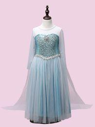Wholesale Diamond Long Dresses - kid Long Sleeve frozen child Cloak Dresses Frozen Kids Clothing Sequin Diamond Anna Elsa Princess Dress girl Tulle Dress in stock