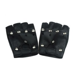 Wholesale Mens Black Gloves Fingerless - Wholesale- Mens Leather Gloves Theatrical Punk Hip-hop PU Black Half-finger Faux Leather Gloves Round Nail Guantes A01