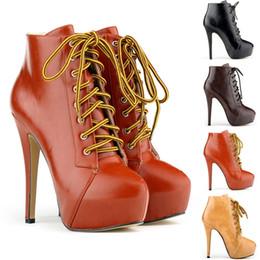 2019 chaussures talons taille 11 Chaussure Femme Dames Hauts Talons Lace Up Plate-forme Stiletto Cheville Bottes Pu Chaussures Faux Cuir Femmes US TAILLE 4 5 6 7 8 9 10 11 D0050 chaussures talons taille 11 pas cher