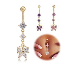 Wholesale Navel Belly Button Piercing Butterfly - Yellow Gold Plated AAA+ Cubic Zirconia CZ Butterfly Long Charms Piercing Navel Ring Belly Button Ring Christmas Gift for Women