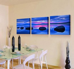 Wholesale Lake Sunset Canvas Art - 3 Panels Blue Lake Pink Sunset Landscape Picture Decor Pictures Wall Art Picture Digital Art Print Canvas Printed Picture for Living Room