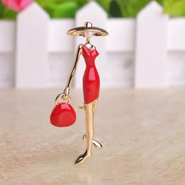 Wholesale Handbag Brooches - Wholesale- Fashion Pretty Girls Brooches Enamel Craft Collar Clips Scarf Buckle Sexy Women Handbag Red Paris Girls Gold Hijab Accessories