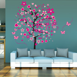 Wholesale Decorative Tree Wall Sticker - Hot 3d Heart Tree Butterfly Wall Decals Removable Wall Decor Decorative Painting Supplies & Wall Treatments Stickers for Girls Kids Living