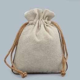 Wholesale Drawstring Cotton Pouch - Small Blank Plain Drawstring Cloth Bag Cotton Linen Spice Bags Jewelry Packaging Empty Tea Candy Gift Pouches Wedding Party Favor