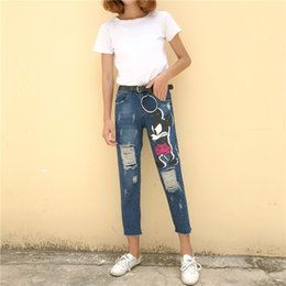 Wholesale Rhinestone Capris - women fashion beautiful In the autumn of 2017 new cartoon Mickey hole left feet female straight legged jeans paint