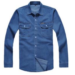 Wholesale Men Jeans Work - Wholesale- Free shipping cotton long-sleeve denim shirt male plus size loose shirt Blue work wear men jeans shirt men Chemise Homme