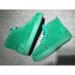 Wholesale Mens Studded Shoes - New Arrival Green Mens Womens Shoes Red Bottoms Matter leather with Spike Studded high top sneakers,designer causal flat sports shoes 36-46