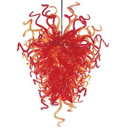 Bocca di luce rossa online-Lampadario in vetro moderno Decorazione di nozze rossa Soffitto alto CE / UL 100% soffiato a bocca Borosilicato in vetro di Murano Lampadario in stile americano