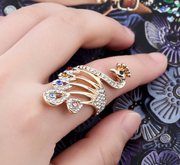 Wholesale Peacock Diamond Ring - B184 2017 Europe and the United States jewelry wholesale fashion temperament diamond peacock ring women 's personality ring for women