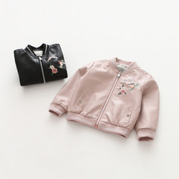 Wholesale Leather Jackets Children Girls - Everweekend Girls Floral Embroidered Pu Leather Jackets Outwears Pink and Black Color Fashion Children Autumn Winter Outwears