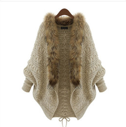Wholesale Collar Designs Sweaters - Wholesale-Fashion Women Loose Fur Collar Cardigan Sweater 2015 Autumn Winter Ladies New Design Batwing Sleeve Overcoat Dropshipping