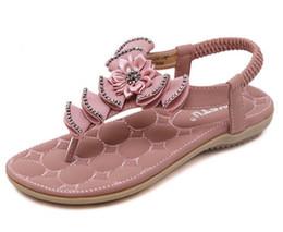 Wholesale Sandals Diamond Flowers - Plus Size 35-41 Summer Sandals Diamond Flower Sandals Wedges Sandals Fashion Flip Flops Comfortable Shoes Woman G258