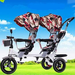 Wholesale Infant Double Stroller - Luxury Double Stroller Baby Anti Shock Pushchair Pram High View Carriage Infant Stroller for Travel Systems Bicycle