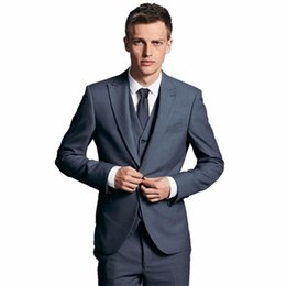 Wholesale High Quality Tuxedos - High Quality Groom Groomsmen Wedding suits tuxedos handsome mens formal occasion suits gentleman the groom wedding suits (jacket+pants+vest)