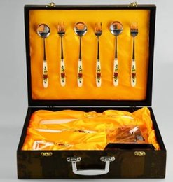Wholesale Traditional Chinese Gift Boxes - SGS CE Certification Ceramic Knife 10pcs Sets Kitchen knife +fruit knife+Peeler+Spoon+Fork+ Holder gift box free shipping