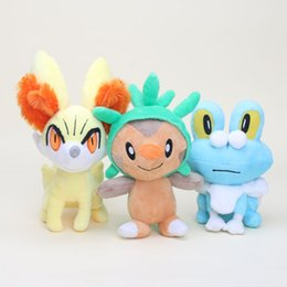 Wholesale Chespin Plush - 3 Style Poke Doll Pikachu Chespin Fennekin Froakie Plush Stuffed Toys For Child Best Gifts (Size : 17-20cm ) -D037