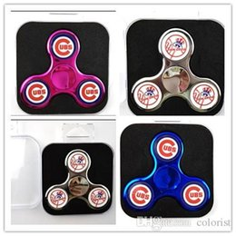 Wholesale Cubs Logos - CUBS Logo Fidget Spinner New York Yankess NY 2 Sides Logo Chrome Hand Spinners Metal Colors Gold Plating Tri-spinner Toys PVC Box Extra Send