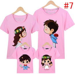 Wholesale Korean T Shirt Free Shipping - 2017 summer Korean style Parent clothing 16 colors T-shirt parentage clothes lovers' clothes Wedding pattern Free shipping