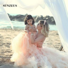 Wholesale Children Strapless Flower Gown - Cute Two Pieces Graduation Gowns Children Sequined Strapless Flower Girl Dresses Tulle Tutu Gown Vestido Daminha Mother Daughter Dresses