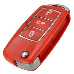 Wholesale Car Remote Case Cover - Red 3 Button Remote Key Fob Case Shell For Volkswagen VW Bora Beetle Golf Polo Passat Plastic Car Replacement Key Cover