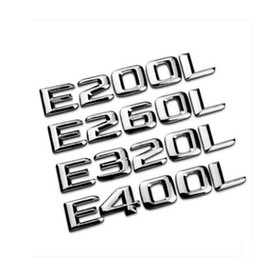 Wholesale Mercedes Clk - Car styling New 3D abs Chrome E200L E320L c63 Badge Emblem Sticker for Mercedes-Benz SLK CLK SL CLS ML GL A B C E Benz S Class