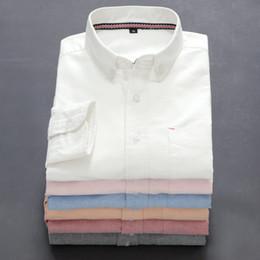 2020 más el tamaño de camisas de oxford Al por mayor 2016 nueva camisa de la marca rayada Hombres Camisas Oxford de manga larga camisa casual para hombres Camisas Masculinas más el tamaño M a 5XL rebajas más el tamaño de camisas de oxford