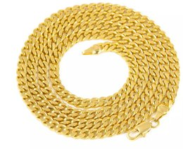Wholesale Real Solid 24k Gold - big promotion 5mm 30inch 3mm 24inch Real 24K Yellow Gold Rhodium Plated Solid Cuban Curb Chain Mens Necklace Hip Hop Jewelry chain link