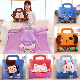 Wholesale Embroideries Cushion - Multistyle Cute Cartoon Animal Blanket Multifunctional Plush Cushion Flanelle Embroidery portable blanket 160*110cm Air conditioning blanket