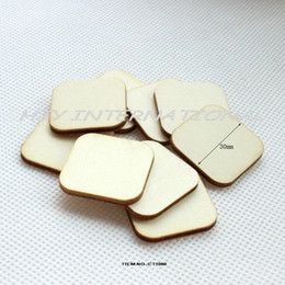 "Wholesale unfinished wooden - Wholesale- (120pcs lot) 30mm lank unfinished square wooden scrabble tiles crafts  rings round corners crafts laser cut 1.2""-CT1080"