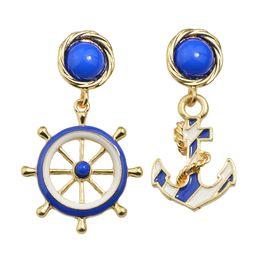 Wholesale White Gold Anchor Earrings - Blue White Enamel Anchor Rudder Drop Earrings for Women New Coming Sea Style
