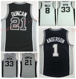 Wholesale Gray Basketball Jersey - 2017 Men 40 Boban Marjanovic Jersey Printed 33 Boris Diaw 1 Kyle Anderson 8 Patty Patrick Mills Shirt Uniform Team Color Black White Gray