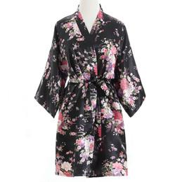 Canada Vente en gros- Plus la taille des femmes de mode d'été Mini Kimono court robe de bain robe noire femmes chinoises rayonne Yukata chemise de nuit Pijama Mujer Mds003 supplier chinese sexy fashion Offre